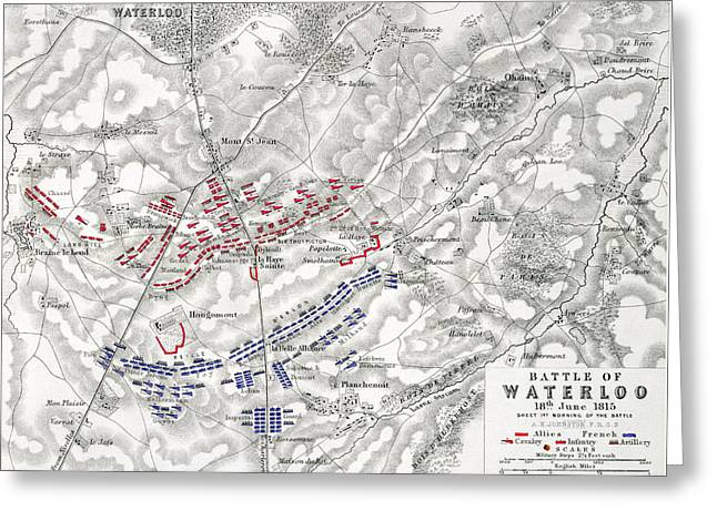 Map Of The Battle Of Waterloo Greeting Card by Alexander Keith Johnston