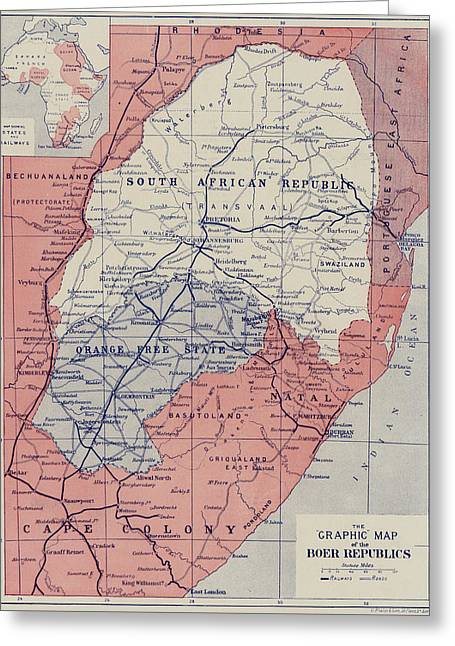 Map Of The Boer Republics Greeting Card