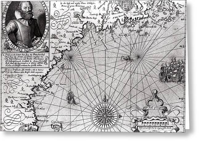 Historic Drawings Greeting Cards - Map of the Coast of New England Greeting Card by Simon de Passe