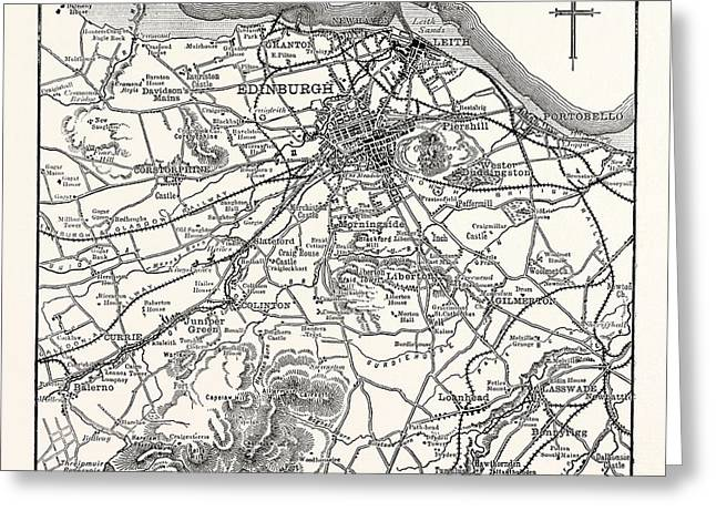 Map Of The Environs Of Edinburgh Greeting Card by British School
