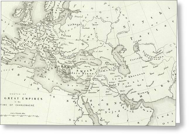 Map Of The Great Empires In The Time Of Charlemagne Greeting Card
