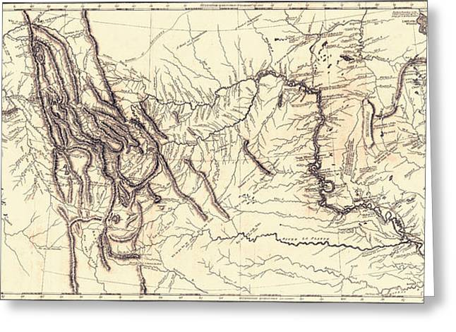 Map Of The Lewis And Clark American Greeting Card by Vintage Design Pics