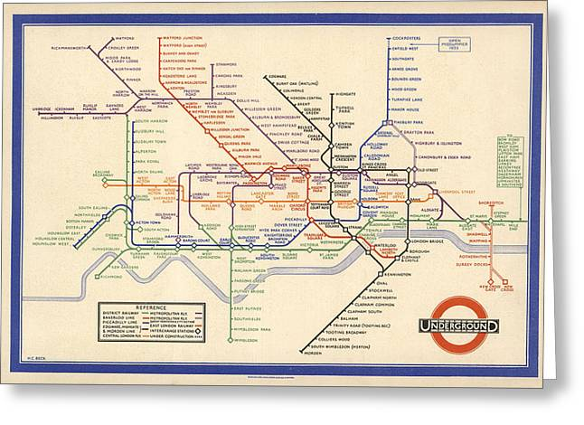 Map Of The London Underground - London Metro - 1933 - Historical Map Greeting Card