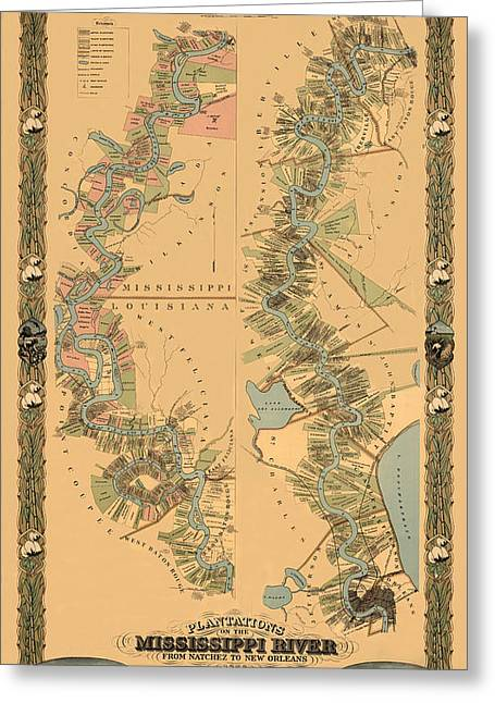Map Of The Mississippi River 1858 Greeting Card by Andrew Fare