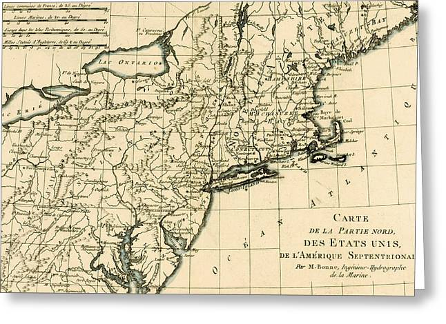 Map Of The North East Coast Of America Greeting Card by Guillaume Raynal
