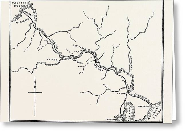 Map Of The Panama Railroad Greeting Card by American School