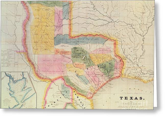 Map Of The State Of Texas, 1835  Greeting Card