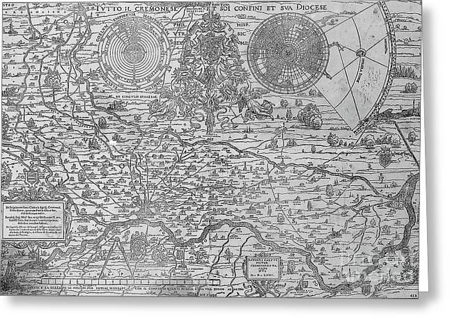 Map Of The Town And Diocese Of Cremona, 1571 Greeting Card by Antonio Campi