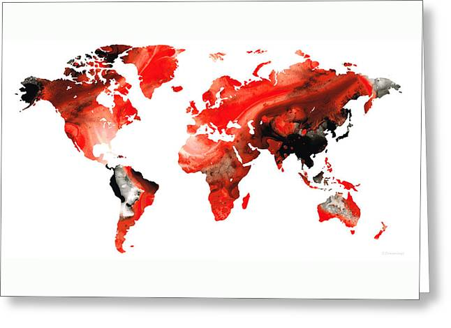 Map Of The World 10 -colorful Abstract Art Greeting Card by Sharon Cummings