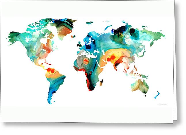 Map Of The World 11 -colorful Abstract Art Greeting Card by Sharon Cummings