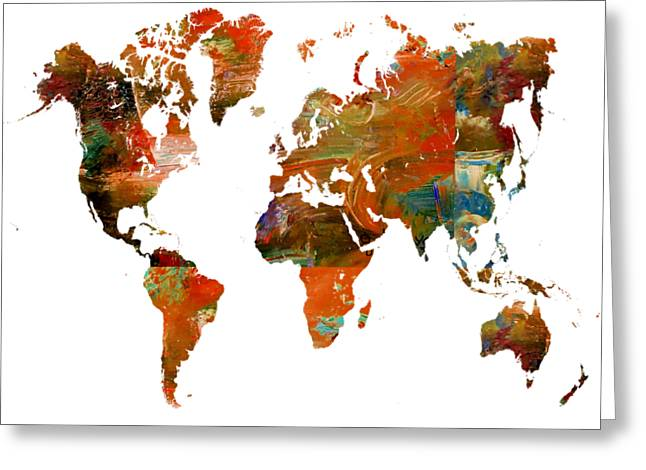 Map Of The World 2- Abstract Art Greeting Card