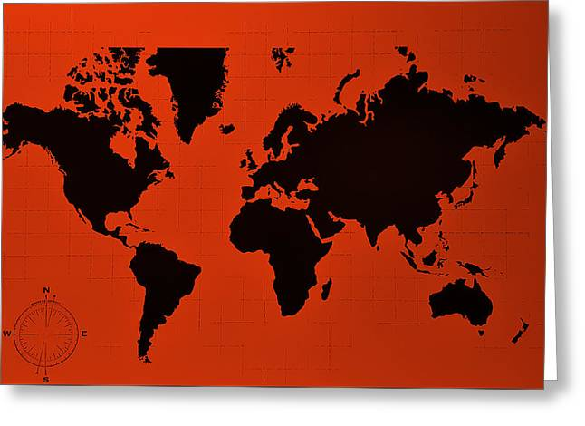 Greeting Card featuring the photograph Map Of The World Copper by Rob Hans