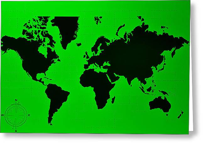 Greeting Card featuring the photograph Map Of The World Green by Rob Hans