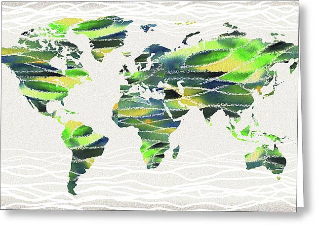 Map Of The World In Watercolor Waves Greeting Card
