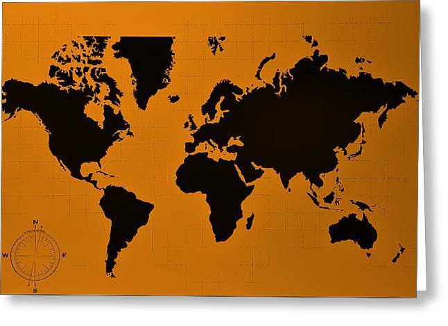 Greeting Card featuring the photograph Map Of The World Orange by Rob Hans