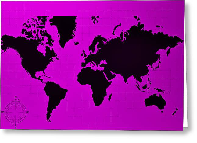Greeting Card featuring the photograph Map Of The World Purple by Rob Hans
