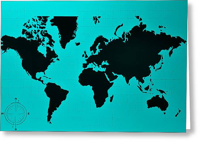 Greeting Card featuring the photograph Map Of The World Turquoise by Rob Hans