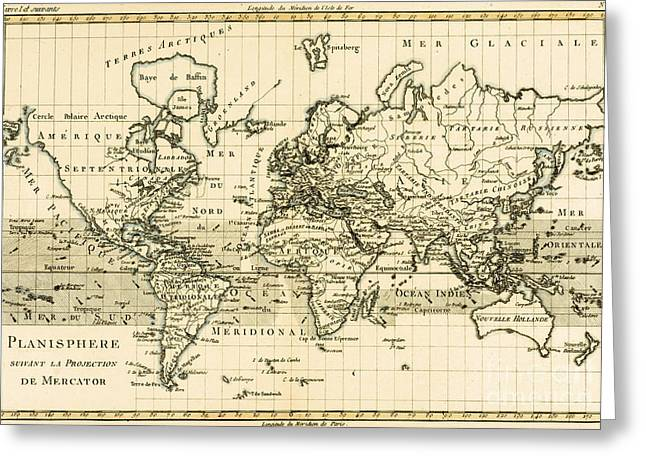 Historic Drawings Greeting Cards - Map of the World using the Mercator Projection Greeting Card by Guillaume Raynal