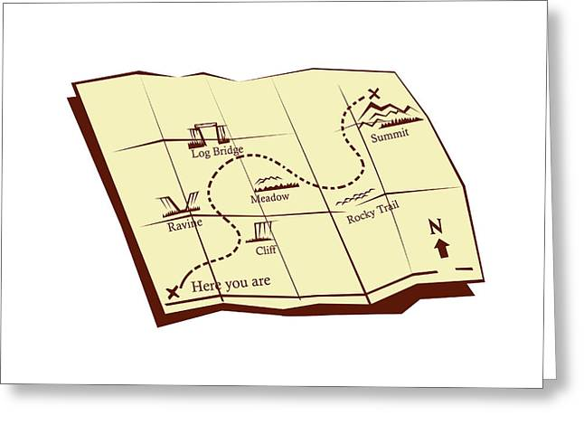 Map Of Trail With X Marks The Spot Woodcut Greeting Card by Aloysius Patrimonio