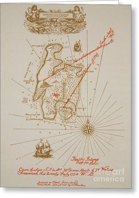 Map Of Treasure Island Greeting Card by Newell Convers Wyeth