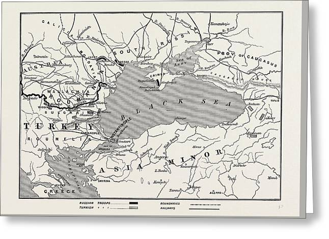 Map Of Turkey And Southern Russia Greeting Card by English School