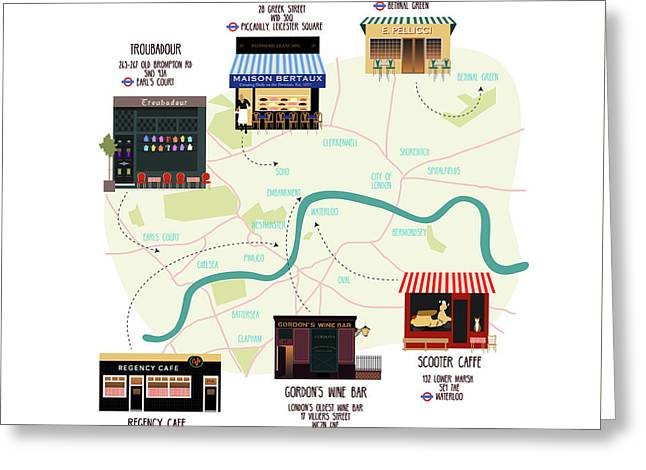 Map Of Unique London Eateries And Bars Greeting Card