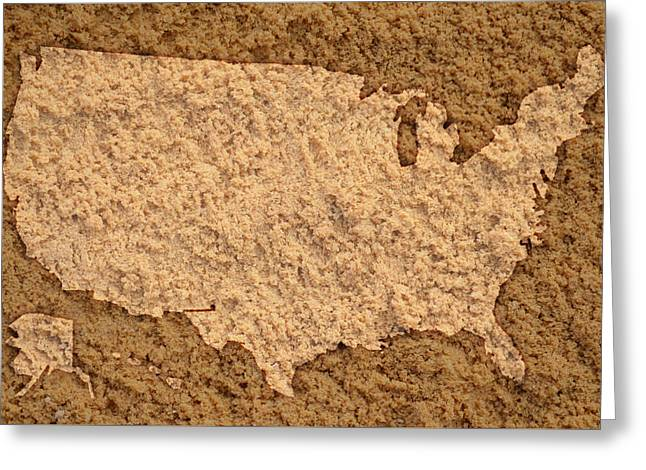 Map Of Usa On Sandy Beach Greeting Card