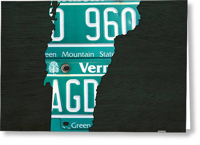 Map Of Vermont Recycled Vintage License Plate Art Greeting Card