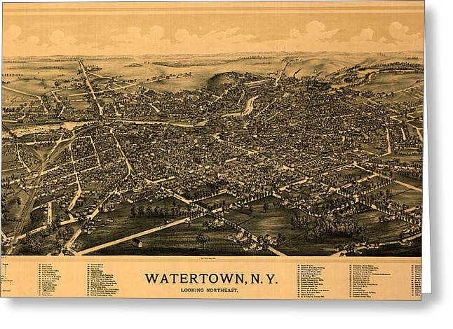 Map Of Watertown 1891 Greeting Card by Andrew Fare