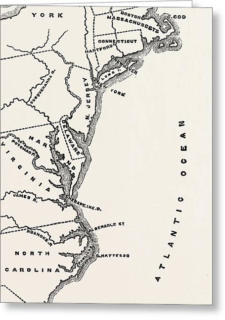 Map To Show Position Of The Early Settlements In North America Greeting Card by American School