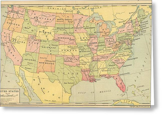 Greeting Card featuring the digital art Map Usa 1909 by Digital Art Cafe