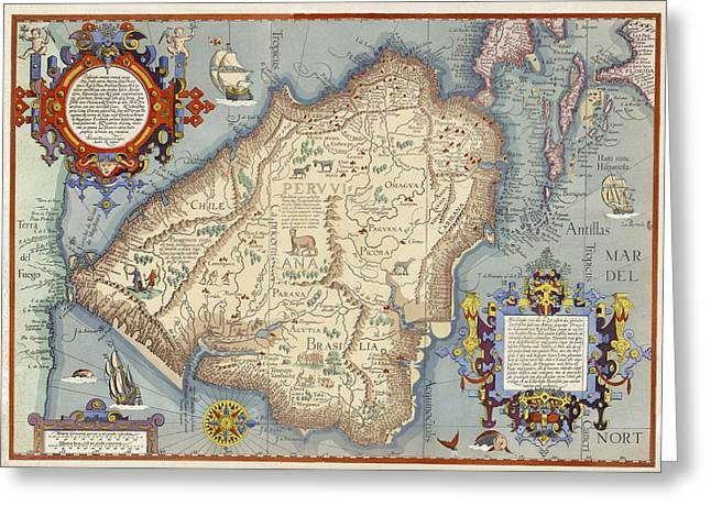 Map With Animals, Ships, Cherubs Greeting Card by Gillham Studios
