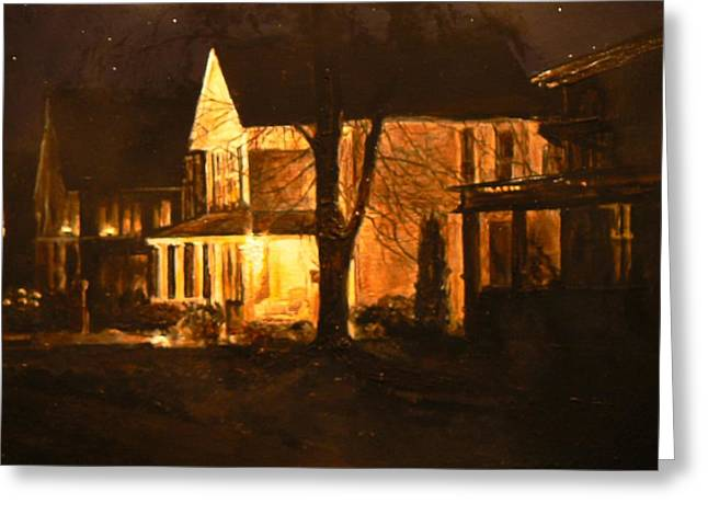Maple Avenue Nocturne Greeting Card by Thomas Akers