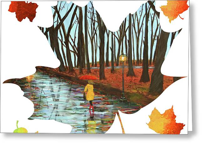 Maple Leaf End Of Autumn Greeting Card by Ken Figurski