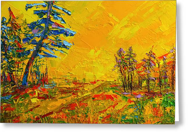Maple Sky Landscape - Modern Impressionistic Palette Knife Oil Painting Greeting Card by Patricia Awapara