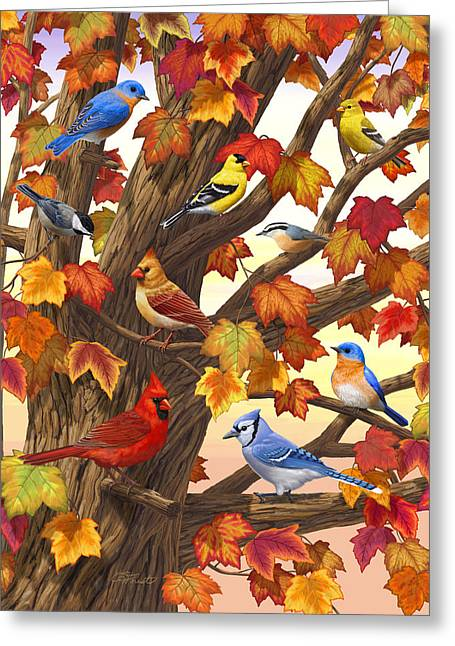 Maple Tree Marvel - Bird Painting Greeting Card