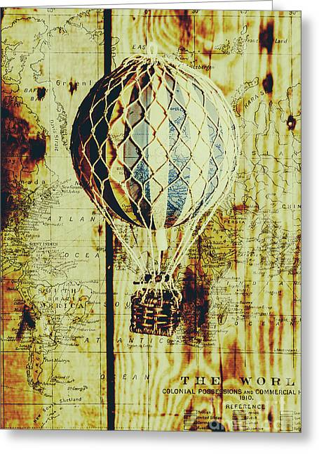 Mapping A Hot Air Balloon Greeting Card by Jorgo Photography - Wall Art Gallery