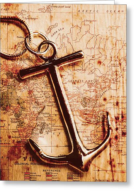 Maps And Anchors Fine Art Greeting Card by Jorgo Photography - Wall Art Gallery