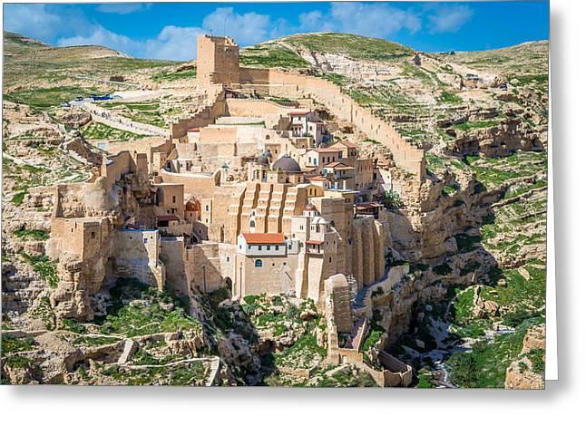 Mar Saba Monastery Greeting Card by Alexey Smolyanyy