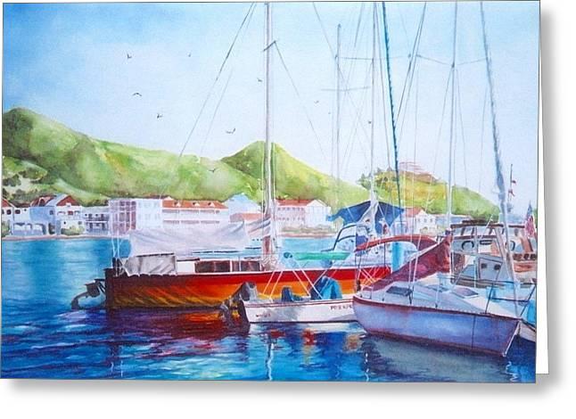 Maragot Harbor Greeting Card by Laura Lee Zanghetti