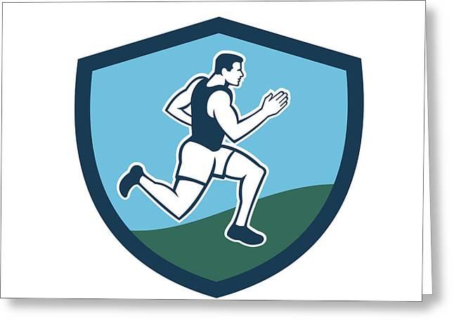 Marathon Runner Crest Retro  Greeting Card