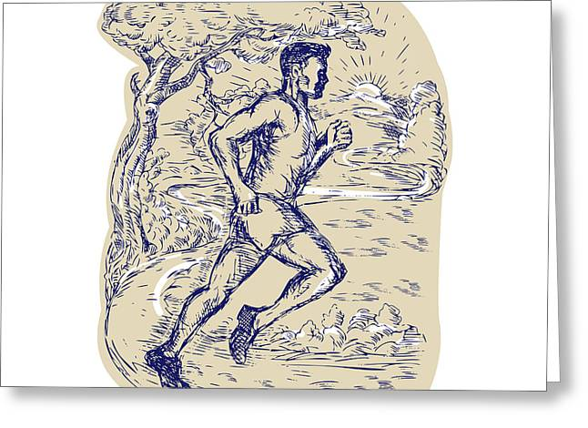 Marathon Runner Running Drawing Greeting Card by Aloysius Patrimonio