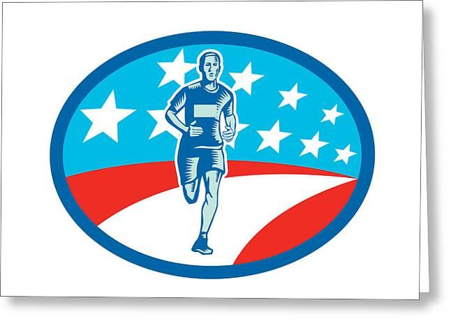 Marathon Runner Usa Flag Oval Woodcut Greeting Card by Aloysius Patrimonio
