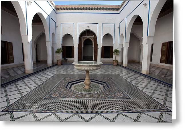 Marble-paved Courtyard, Bahia Palace Greeting Card