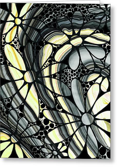 Marbled - Gray And Yellow Flower Art By Sharon Cummings Greeting Card by Sharon Cummings
