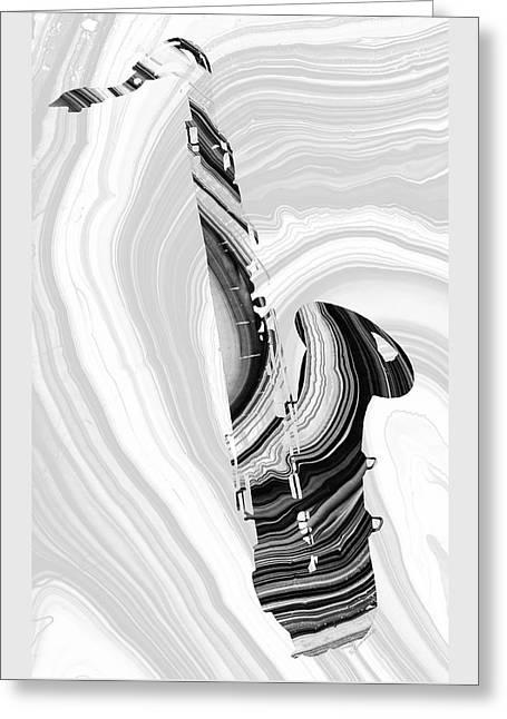 Marbled Music Art - Saxophone - Sharon Cummings Greeting Card