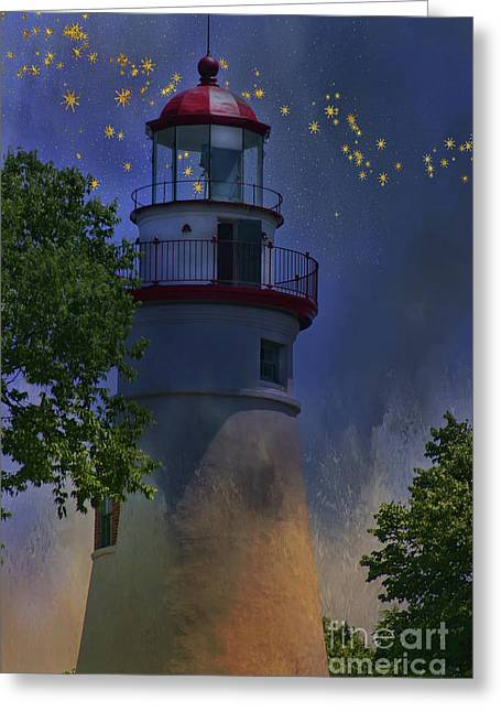 Marblehead In Starlight Greeting Card by Joan Bertucci