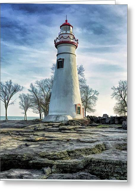 Greeting Card featuring the painting Marblehead Lighthouse by Christopher Arndt