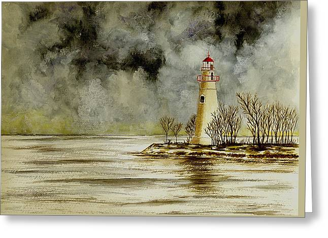Marblehead Lighthouse In The Winter Greeting Card by Michael Vigliotti