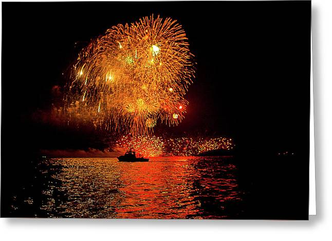 Greeting Card featuring the photograph Marblehead Fireworks by Jeff Folger